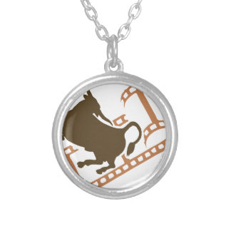 Bucking Bull Film Reel Silver Plated Necklace