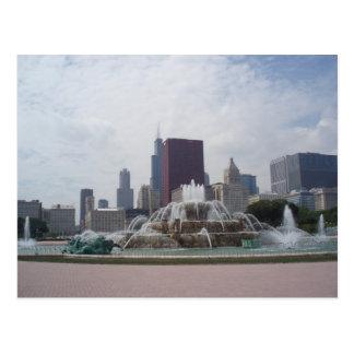 Buckingham Fountain and Chicago Skyline Postcard