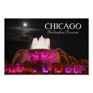 Buckingham Fountain Chicago Pink Poster
