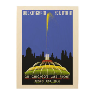 Buckingham Fountain Chicago Vintage WPA Wood Wall Decor