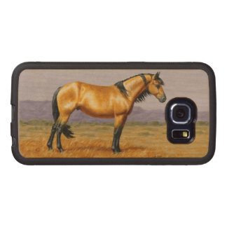 Bucksin Wild Horse Mustang Stallion Wood Phone Case