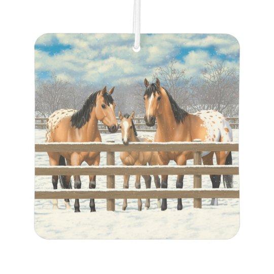 Buckskin Appaloosa Horses In Snow Car Air Freshener