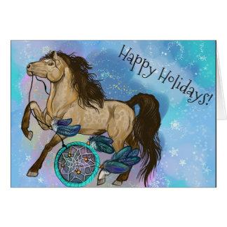 Buckskin Dreamcatcher Horse Christmas Card