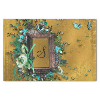 Buckskin Leather Victorian Frame tan Tissue Paper