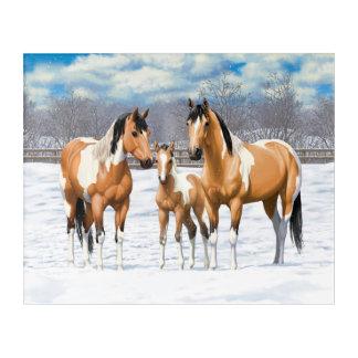 Buckskin Paint Horses In Snow Acrylic Print