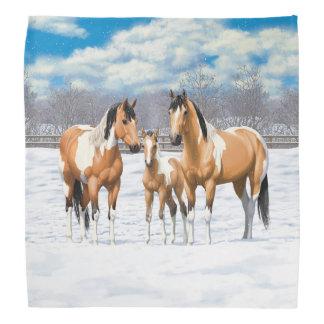 Buckskin Paint Horses In Snow Bandana