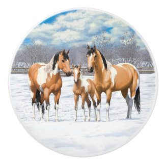 Buckskin Paint Horses In Snow Ceramic Knob