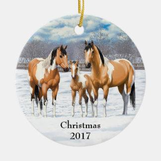 Buckskin Paint Horses In Snow Ceramic Ornament
