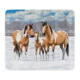 Buckskin Paint Horses In Snow Cutting Board