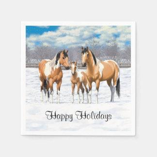 Buckskin Paint Horses In Snow Paper Serviettes