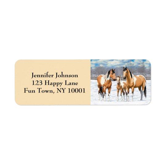 Buckskin Paint Horses In Snow Return Address Label