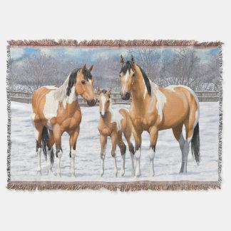 Buckskin Paint Horses In Snow Throw Blanket