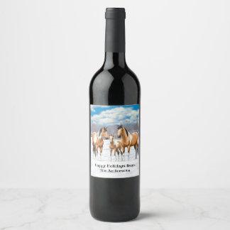 Buckskin Paint Horses In Snow Wine Label