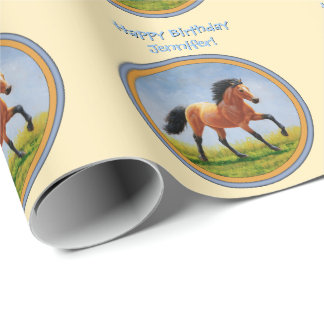 Buckskin Running Horse Yellow Wrapping Paper