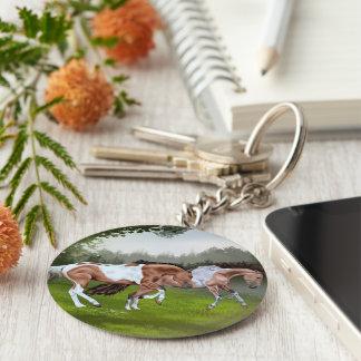 Buckskin Tobiano Paint Horses Key Ring