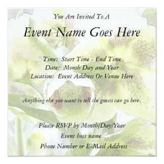 Bud To Blossom - White Hellebores Personalized Invitation
