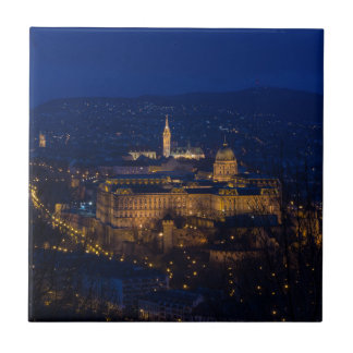 Buda Castle Hungary Budapest at night Ceramic Tile