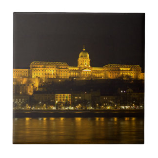 Buda Castle Hungary Budapest at night Small Square Tile