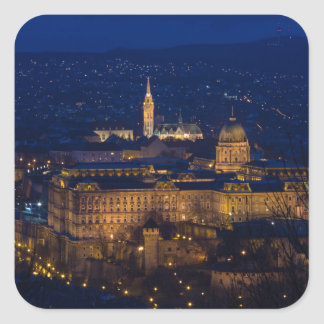 Buda Castle Hungary Budapest at night Square Sticker