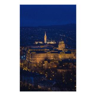 Buda Castle Hungary Budapest at night Stationery