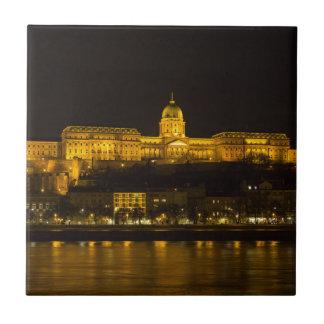 Buda Castle Hungary Budapest at night Tile