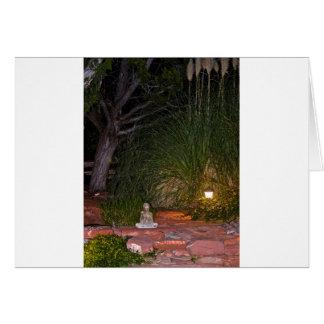 Buda meditating at night card
