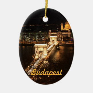 Budapest, banks of the Donau by night Ceramic Ornament