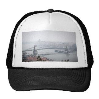 Budapest bridge over danube river picture cap