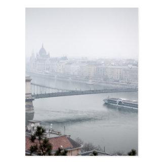 Budapest bridge over danube river picture postcard