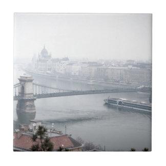 Budapest bridge over danube river picture small square tile