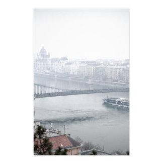 Budapest bridge over danube river picture stationery
