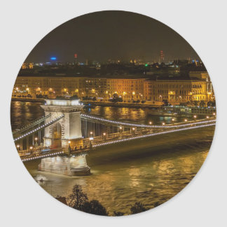 Budapest Chain Bridge Classic Round Sticker