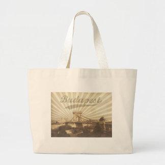 Budapest Chain Bridge Vintage Large Tote Bag