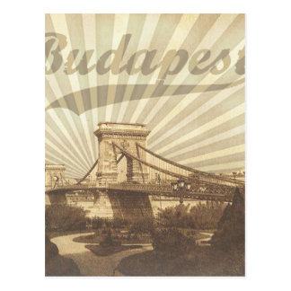 Budapest Chain Bridge Vintage Postcard