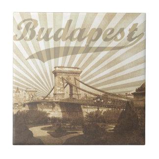 Budapest Chain Bridge Vintage Small Square Tile