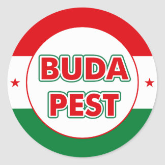 Budapest, circle, color classic round sticker