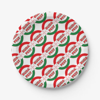 Budapest, circle, color paper plate