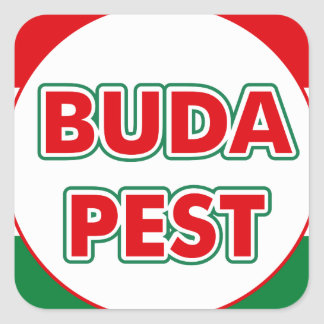Budapest, circle, color square sticker