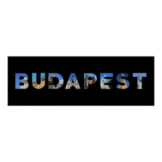 budapest city hungary landmark inside name text poster