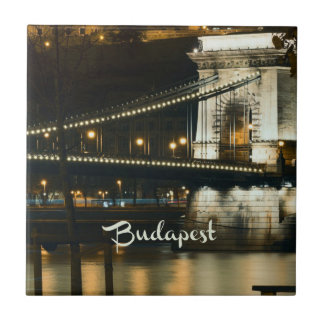 Budapest, Hungary at night Small Square Tile
