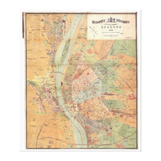 Budapest Hungary Map from 1884 Gallery Wrapped Canvas