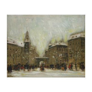 Budapest in the Snow Gallery Wrapped Canvas