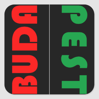Budapest minimalist - circle - 01 square sticker