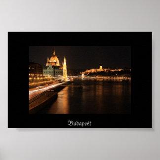 Budapest night from Margit bridge, Parlament, Poster