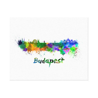 Budapest skyline in watercolor canvas print