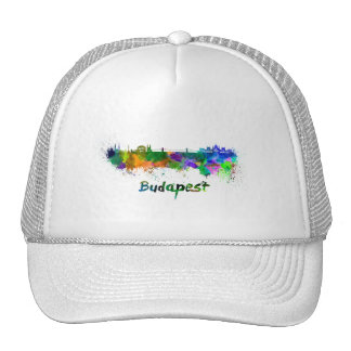 Budapest skyline in watercolor cap