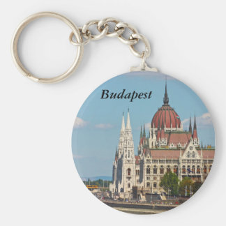 Budapest, the building of the Parliament, Budapest Basic Round Button Key Ring