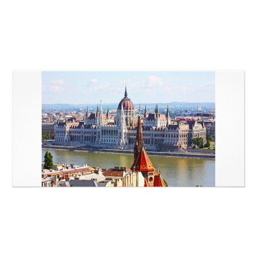 Budapest, the building of the Parliament Photo Card Template