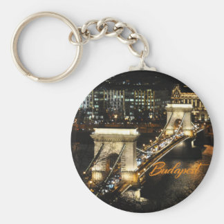 Budapest, The Chain Bridge from the Buda Castle Basic Round Button Key Ring