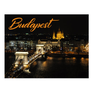Budapest, The Chain Bridge from the Buda Castle Postcard